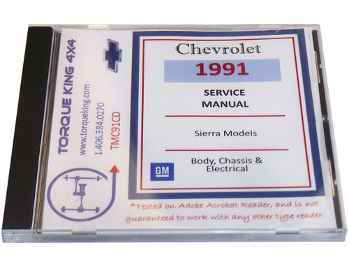 TMC91CD GM Factory C/K Truck Shop Manual on CD for 1991 Model Year C1500, K1500, C2500, K2500, C3500, K3500 Models is your source for service, maintenance, and repair information for your 1991 Chevy or GM C/K series truck.
