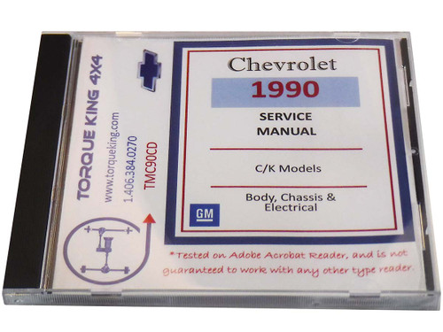 TMC90CD GM Factory C/K Truck Shop Manual on CD for 1990 Model Year C1500, K1500, C2500, K2500, C3500, K3500 Models is your source for service, maintenance, and repair information for your 1990 Chevy or GM C/K series truck.
