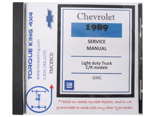 TMC89CD 1989 Chevy and GM C/K Truck Factory Shop Manual on CD for 1989 Model Year C1500, K1500, C2500, K2500, C3500, K3500 Models