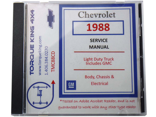 TMC88CD 1988 Chevy and GM C/K Truck Factory Shop Manual on CD for 1988 Model Year C1500, K1500, C2500, K2500, C3500, K3500 Models.
