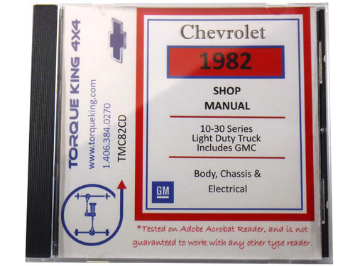 TMC82CD 1982 Chevy and GMC C/K Truck Factory Service Manual on CD for 1982 Model Year C1500, K1500, C2500, K2500, C3500, K3500 Models