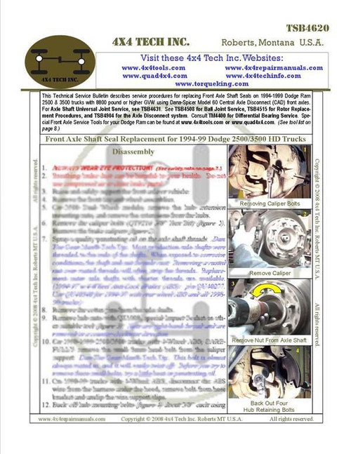 TSB4620P Printed Instruction Sheet for 1994-1999 Dodge CAD Axle Seals