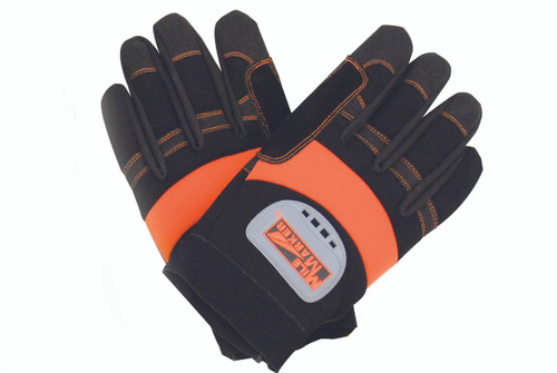 QU56094 XL Mile Marker Black and Orange Heavy Duty Recovery Winch Gloves Featuring cowhide palms with padding to ward off burs and rope burns