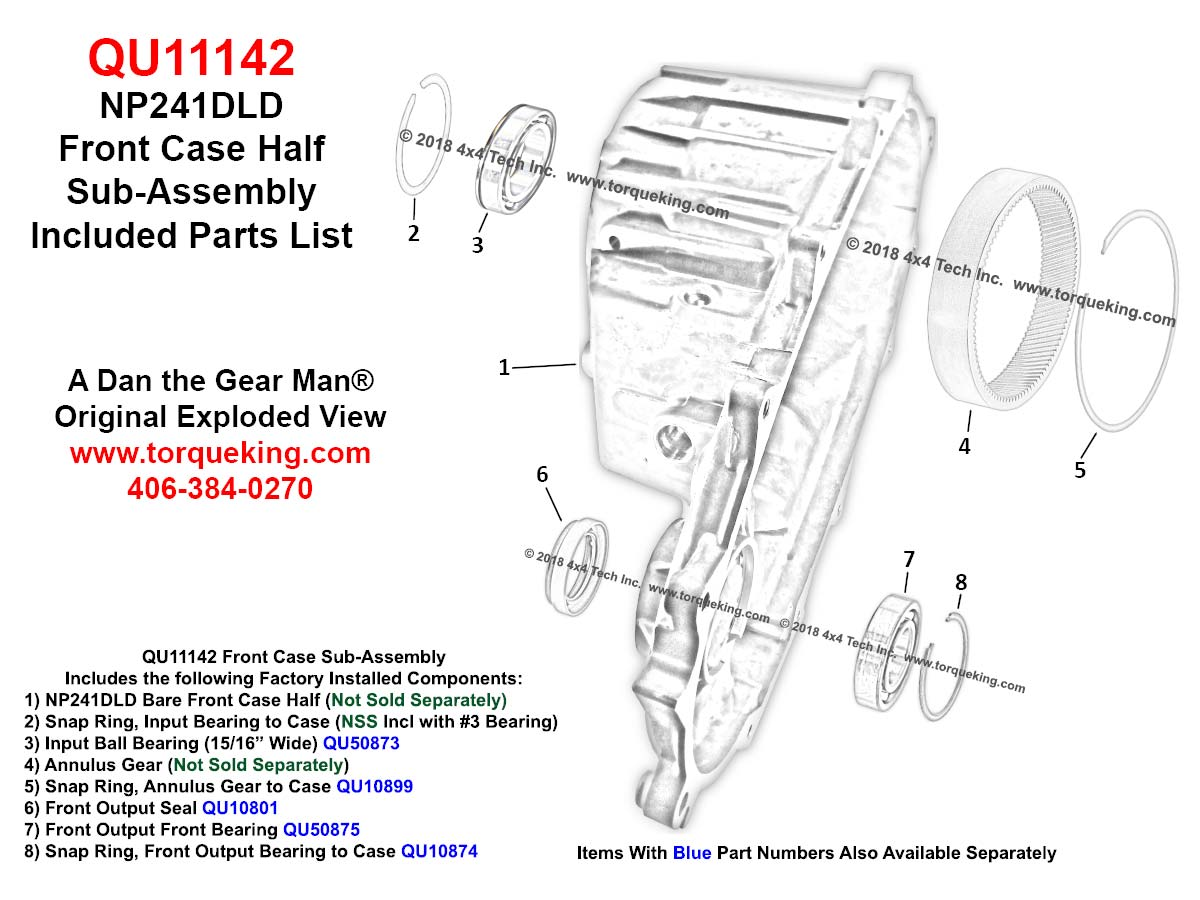 XV403 1994-1997 Dodge Ram NP241DLD Transfer Case Input Shaft