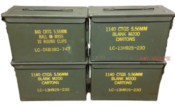 4 PACK .50 CALIBER 5.56mm AMMO CAN M2A1 50CAL METAL AMMO CAN BOX VGC GRADE 2