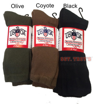 USOA Military Boot Socks Mens Calf Length Anti-Microbial 3 pair USA Made New