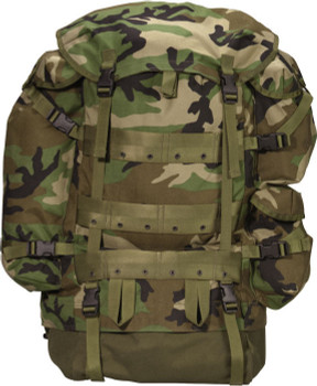 GENUINE MILITARY ISSUE LARGE CFP-90 WOODLAND COMBAT FIELD PACK + PATROL PACK