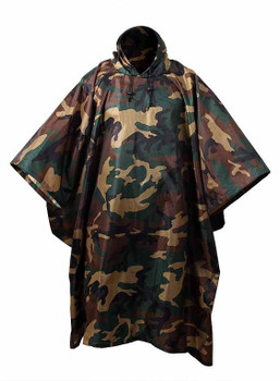 MILITARY TYPE WOODLAND CAMO RAIN PONCHO Great Import NEW