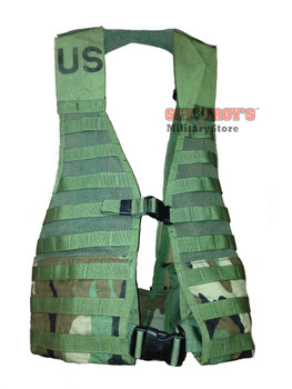 USGI WOODLAND CAMO MOLLE II LBV LOAD BEARING VEST NSN 8465-01-465-2056 VERY GOOD