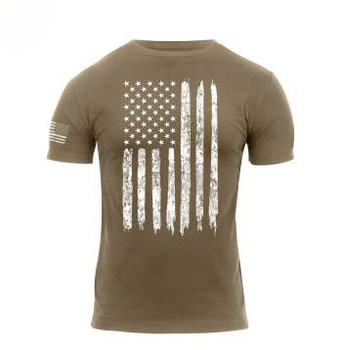 Rothco Distressed Flag T-Shirt in Tan