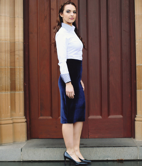 Royal Blue Velvet Pencil Skirt