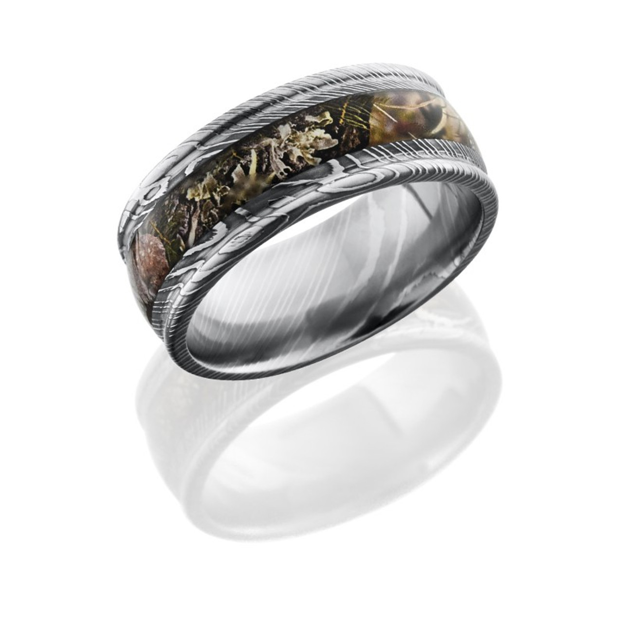 Rounded Edge Damascus Steel Camo Ring Camokix