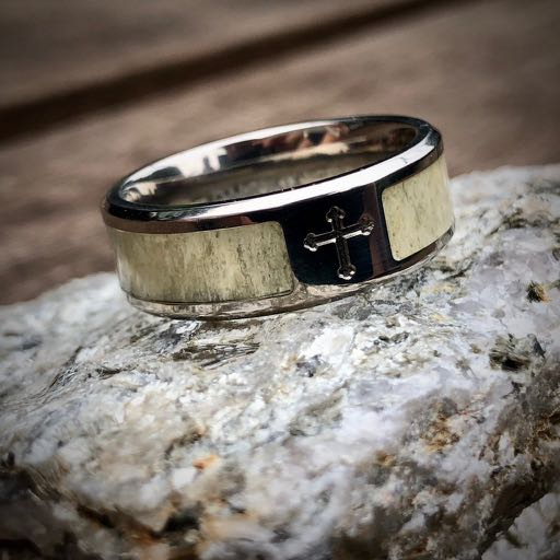 antler ring with corss