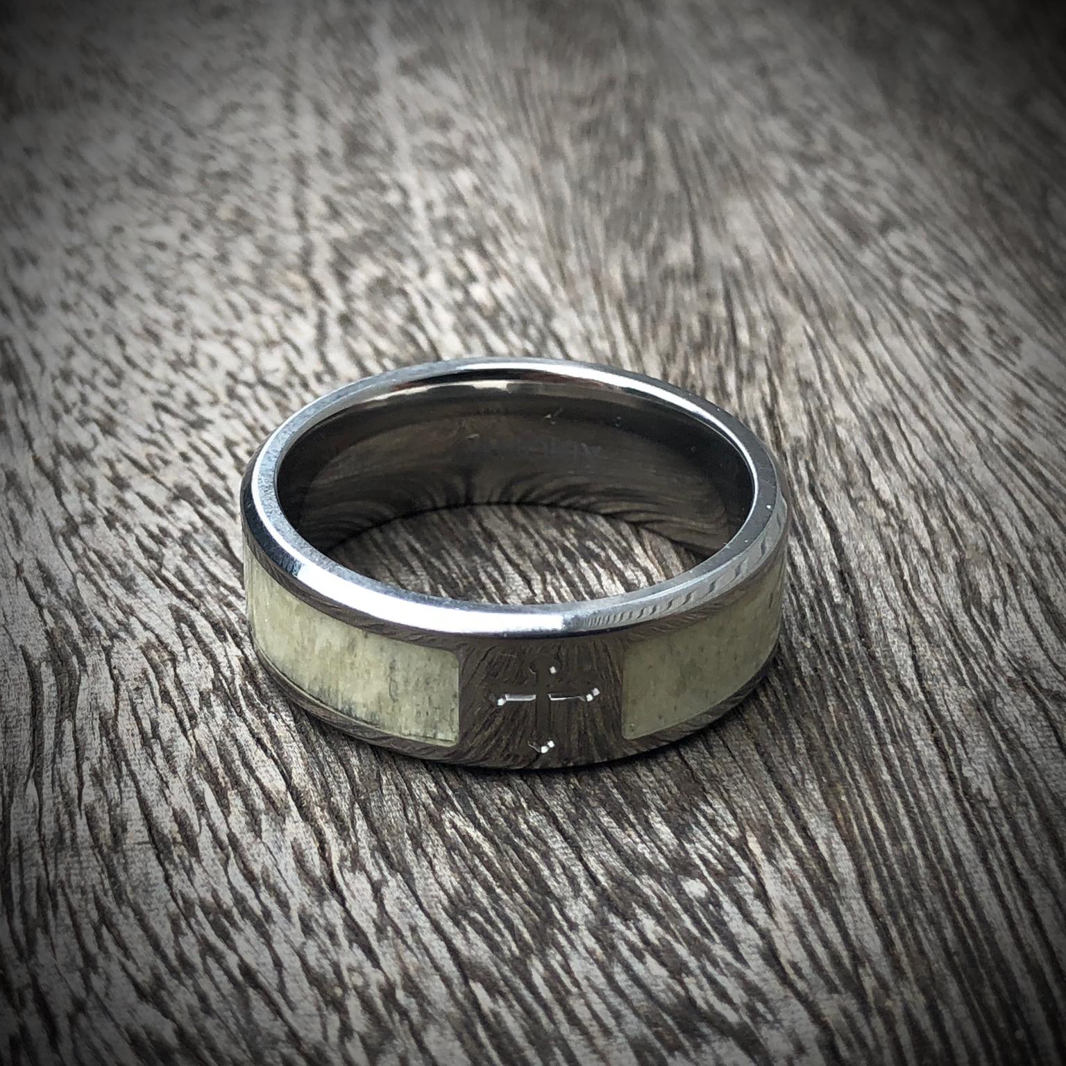 titanium cross antler ring photo