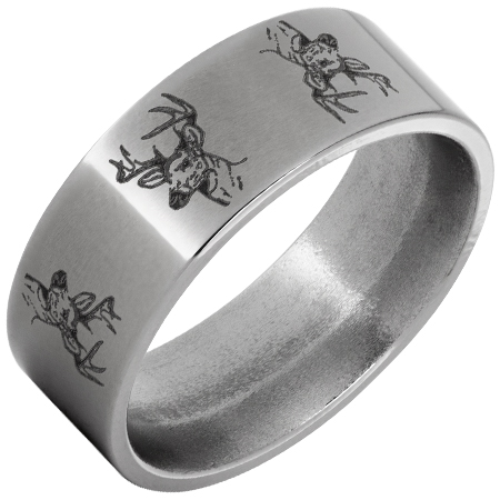 deer heads engraved ring in titanium