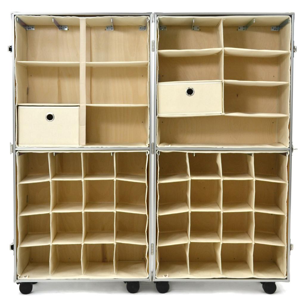 Rhino Urban Wardrobe inserts. three shelf insert (top left), four shelf insert (top right), shoe insert (bottom) empty