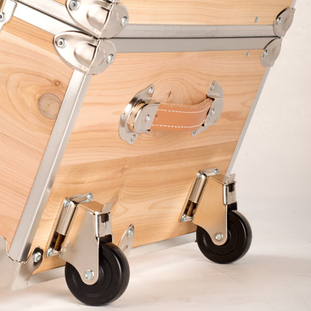 Rhino Large Cedar Storage Trunk removable wheels angle two.