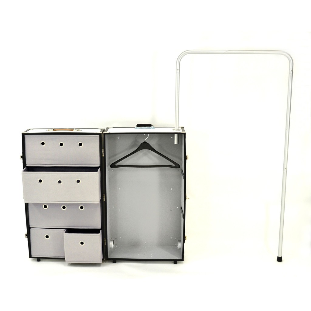 Rhino Dance Star Wardrobe Trunk open with hanger.