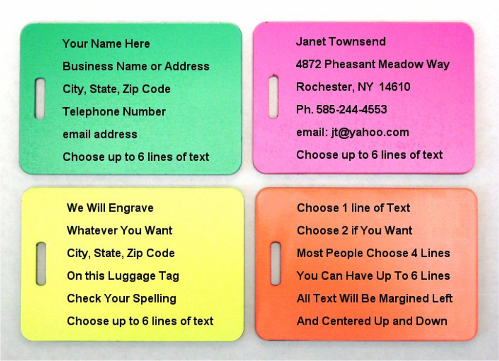 Engraved Luggage Tags - Neon Green, Pink, Yellow, Orange