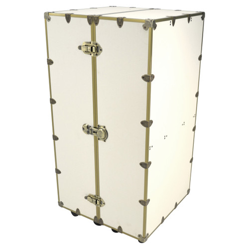Rhino Urban Wardrobe Trunk - White Linen & Brass Hardware