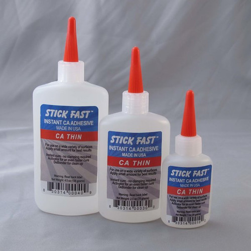 STICK FAST THIN Key Features:  Minimum of 99.5% pure Cyanoacrylate = clear, fast cure, strong  Meets or exceeds ANSI industrial standards Surface Insensitive Formula Absorbs into porous wood  5 cps viscosity - Water Thin Fast setting and curing 1oz, 2.5oz, 4.5oz,  Popular Uses:  Bonding smooth and hard non porous surfaces Sealing wood to add strength and stop cracking Using as a finish: ideal for pens Wicks into joints for furniture repair; bonding without being disassembled Bonding inlay materials such as stone and metal filings Sealing natural edge bark to stay attached
