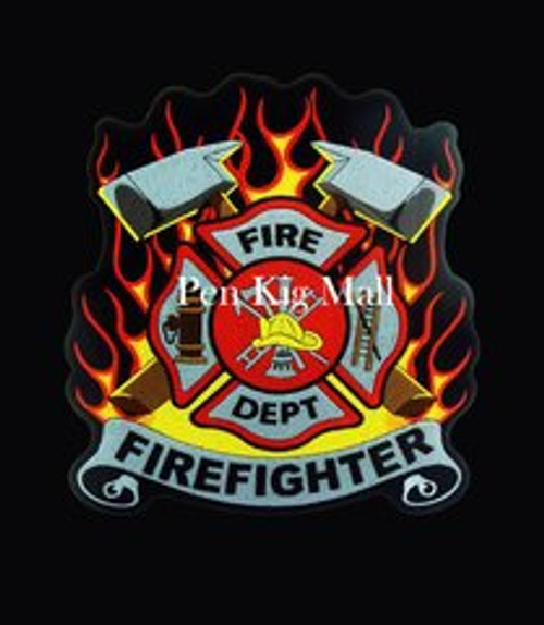 FIREFIGHTER FLAMES ACRYLIC BLANK Black Background