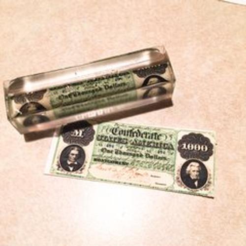 Civil War Pen Blanks 1000 Dollar Replica Confederate Money