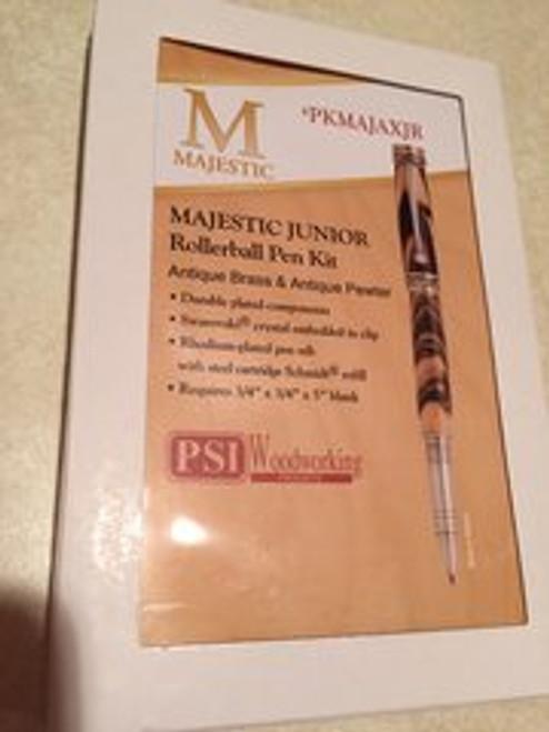 PKMAJAXJR Majestic Jr. Antique Brass and Antique Pewter Rollerball Pen Kit