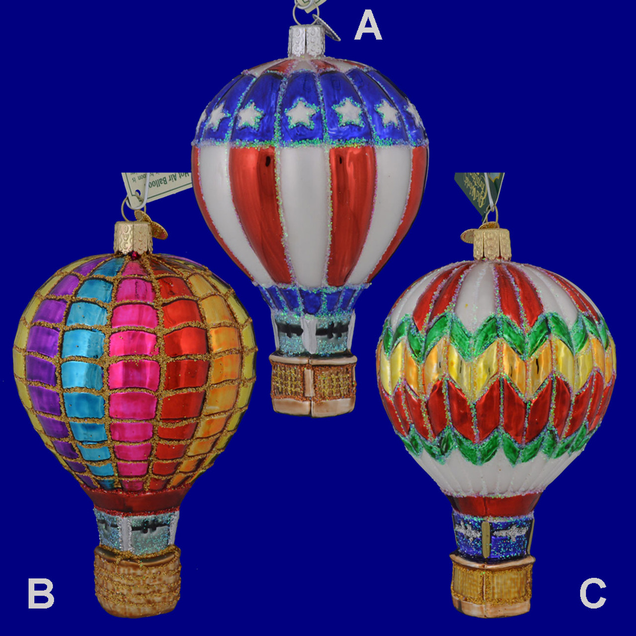 Hot Air Balloon Glass Ornament by Old World Christmas ...