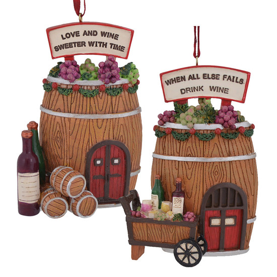 Wine Barrel Cottage House Christmas Ornaments c7629