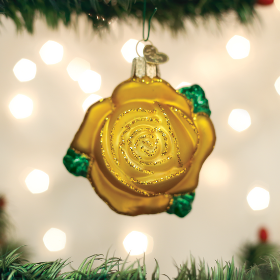 "Yellow Rose Glass Ornament, 3"", OWC# 36250"