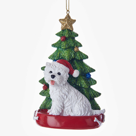 """West Highland Terrier with Christmas Tree Ornament, 4"""", KAC7615WH"""