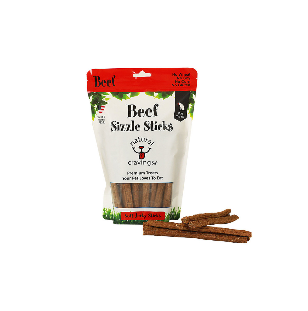 USA Beef Sizzle Sticks Beef Jerky Sticks for Dogs Our beef jerky made from U.S. cattle. Beef Sizzle Sticks help support cognitive brain function and help build a healthy immune system. A tender jerky for dogs that is sure to be a hit.