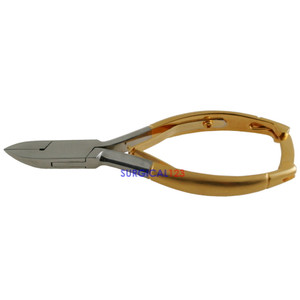 """Ingrown Nail Nippers 5.5"""" Straight Jaws Double Spring Gold Plated"""