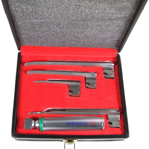 Fiber Optic Miller Laryngoscope Kit with 4 Blades & Handle