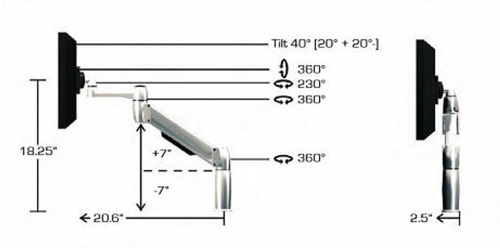 SpaceArm-Dual Monitor Arm Specs