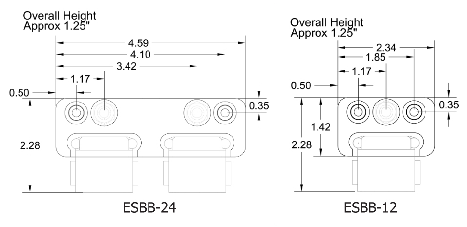 bus bar dimensions, see diagram