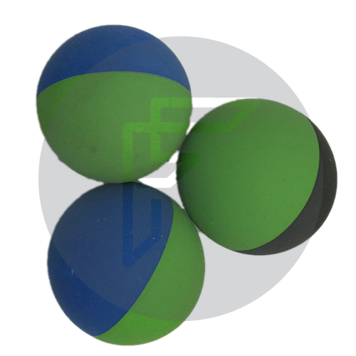 Two tone rubber ball for developing hand eye coordination and throwing skills in adults and children.