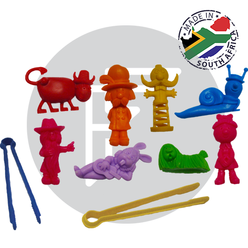Box of animated counters and giant tweezers for children to develop fine motor control