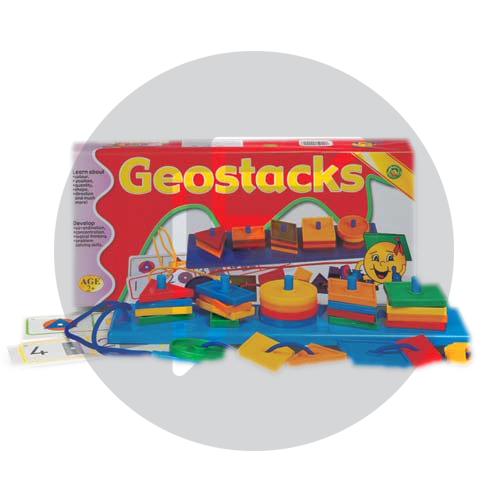 Geo stacker to teach children stacking, shapes and fine motor control