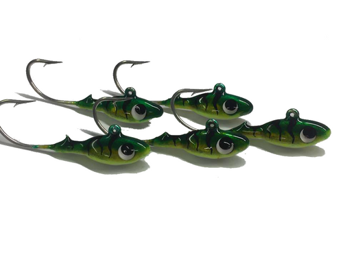 3/8 Perch Babies Poured on a 2/0 630 (super strong hook) with NEW glow Bellies !!!!  Great for walleye,pike,musky.  Tip with a minnow or your favorite Plastics !!!!!