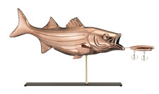 Bass & Lure Copper Weathervane Sculpture on Mantel Stand