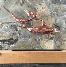 Copper Mermaid and Dolphin with Mantle Base