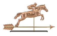 Horse & Rider Copper Weathervane Sculpture on Mantel Stand