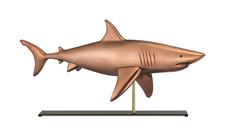 Shark Copper Weathervane Sculpture on Mantel Stand