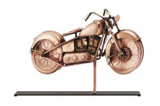 Motorcycle Copper Weathervane Sculpture on Mantel Stand