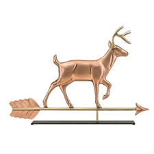 White Tail Buck Copper Weathervane Sculpture on Mantel Stand