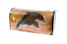 Rural Leaping Dolphins Copper Mailbox