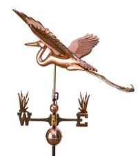 Deluxe Blue Heron Weathervane With Cat tail Directionals