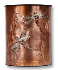 Dragonflies Copper Waste Basket